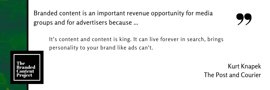 Branded content is an important revenue opportunity for media groups and advertisers because … It's content and content is king. It can live forever in search, brings personality to your brand like ads can't.
