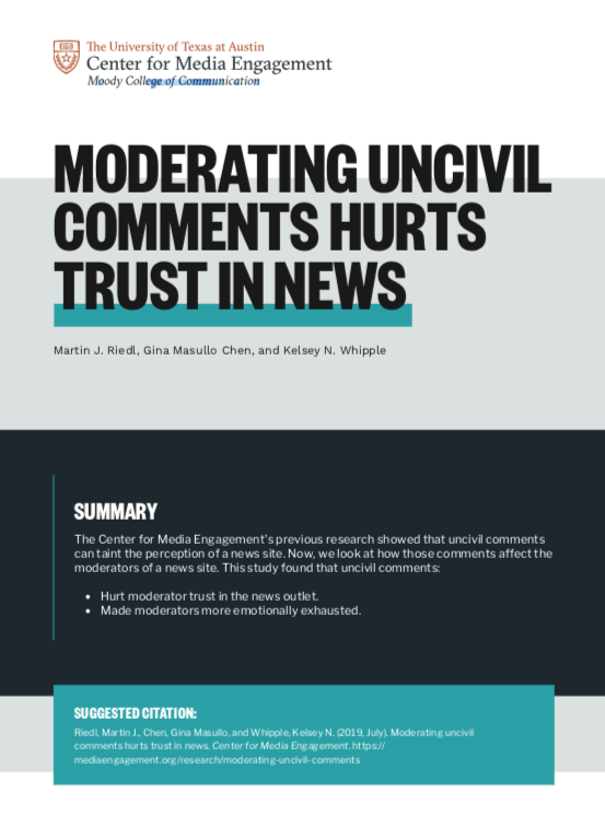 Moderating Uncivil Comments cover page