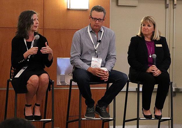 Fran Wills, Jason Washing and Nancy Lane during Washing's keynote Q&A.