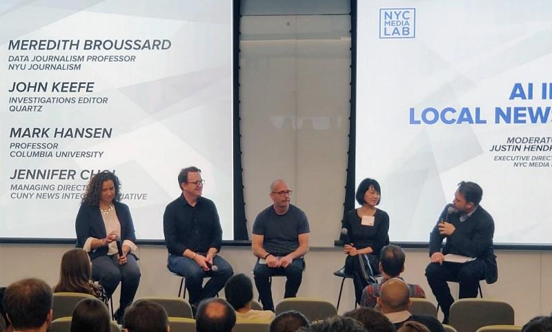 Day 1 panelists, from left: Meredith Broussard, John Keefe, Mark Hansen, Jennifer Choi, and moderator Justin Hendrix.