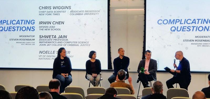 The Day 2 panel, from left: Noelle Silver, Shweta Jain, Irwin Chen, Chris Wiggins, moderator Steven Rosenbaum.