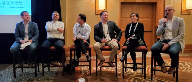 Panelists in the digital subscriptions/consumer revenue session share a laugh: (from left) Jed Williams, LMA; Matt Fulton, Maine Today Media; Jon Rust, Southeast Missourian; Brian Connolly, The Buffalo News; P.J. Browning, The Post and Courier; Pete Doucette, FTI Consulting.